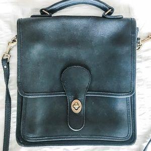 COACH cross body navy leather purse